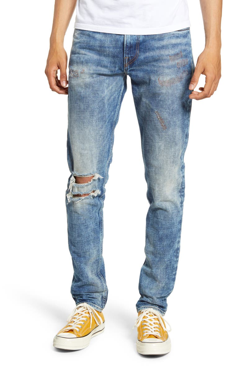 HUDSON JEANS Zack Ripped Skinny Fit Jeans, Main, color, NATIONAL