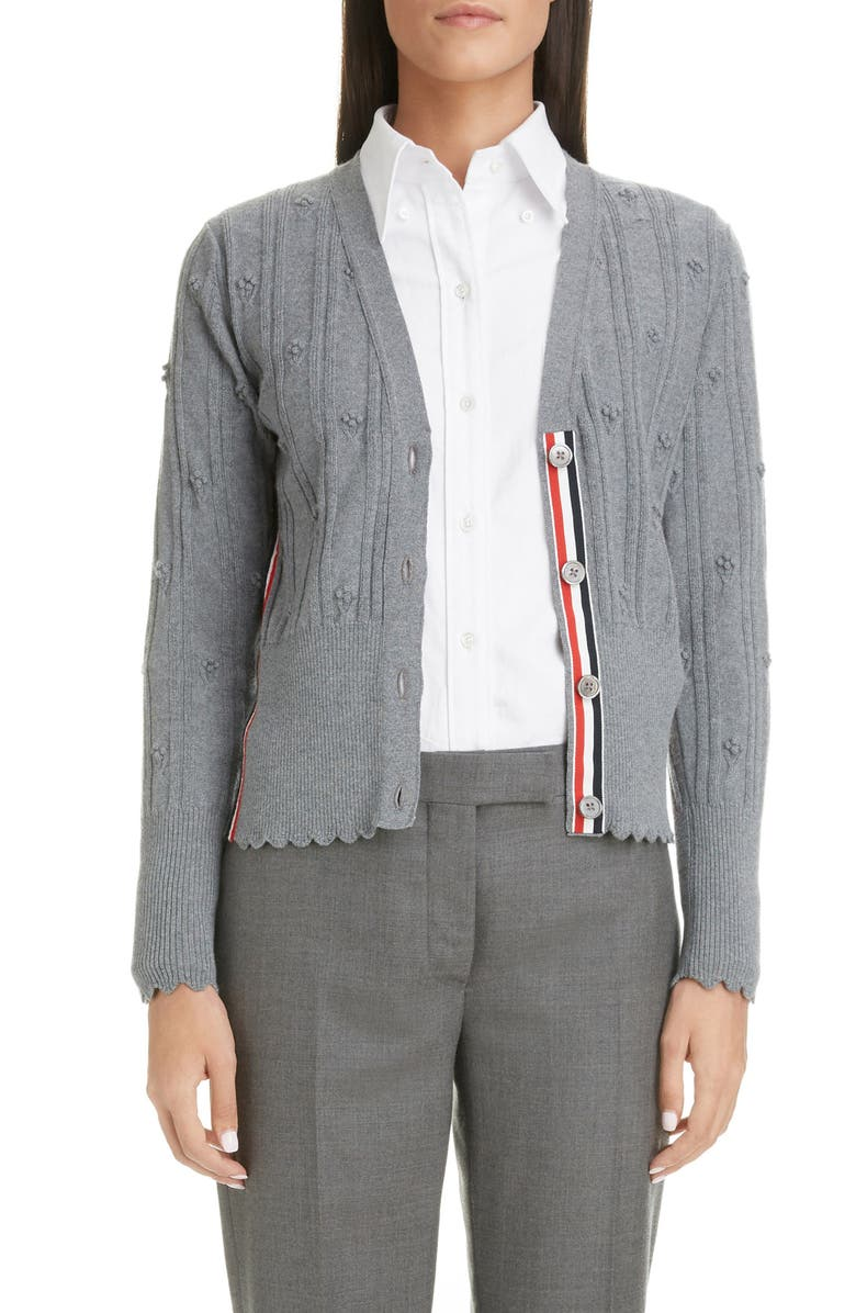 THOM BROWNE Floral Wool Cardigan, Main, color, LIGHT GREY