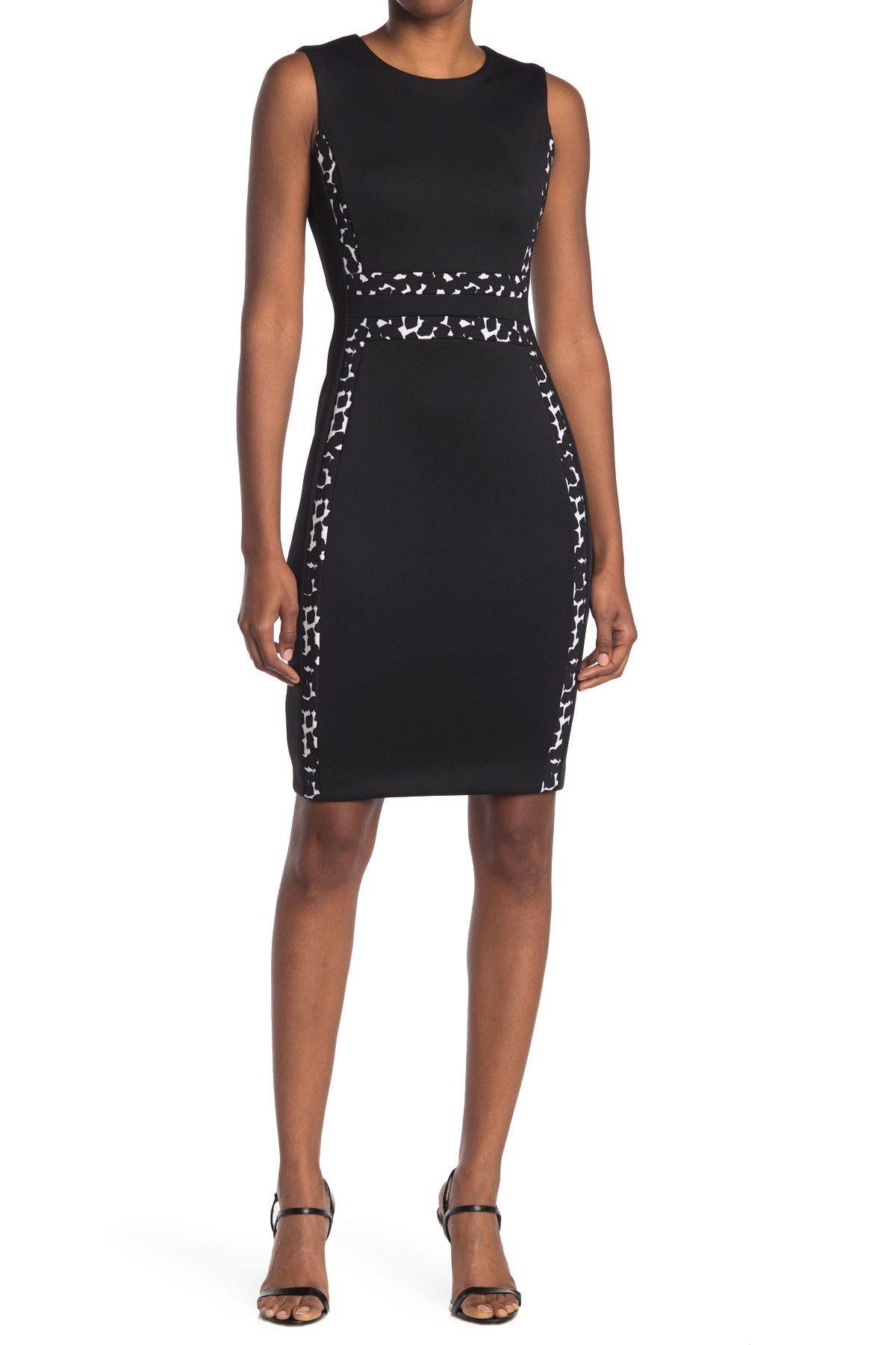 Image of Calvin Klein Dot Trim Sheath Dress