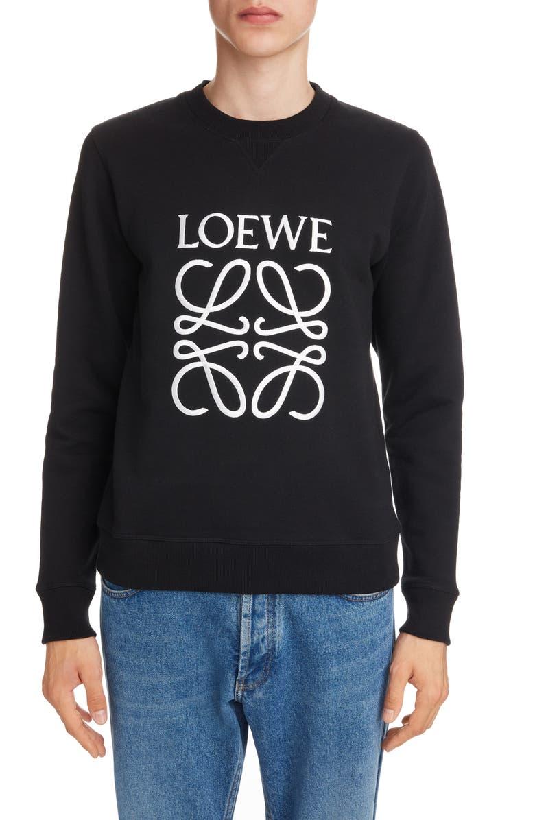 LOEWE Anagram Embroidered Cotton Sweatshirt, Main, color, BLACK