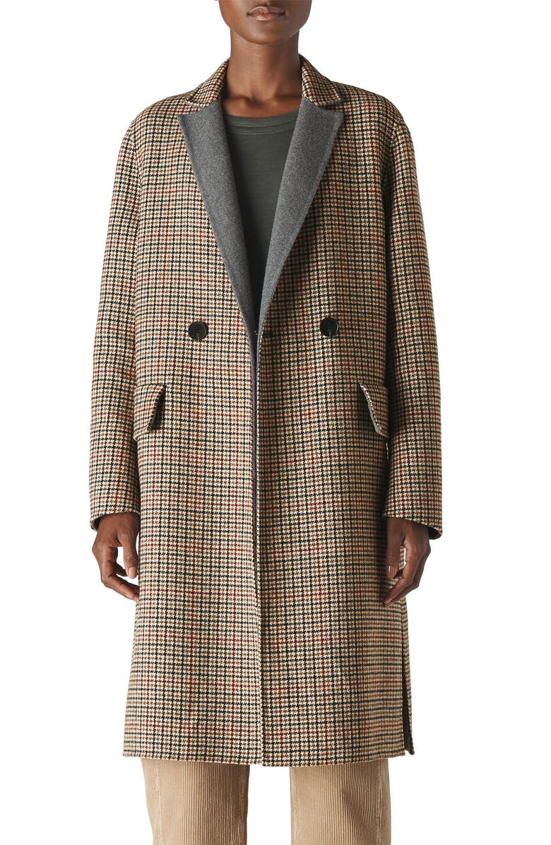WHISTLES Check Double Face Wool Blend Coat, Main, color, MULTI