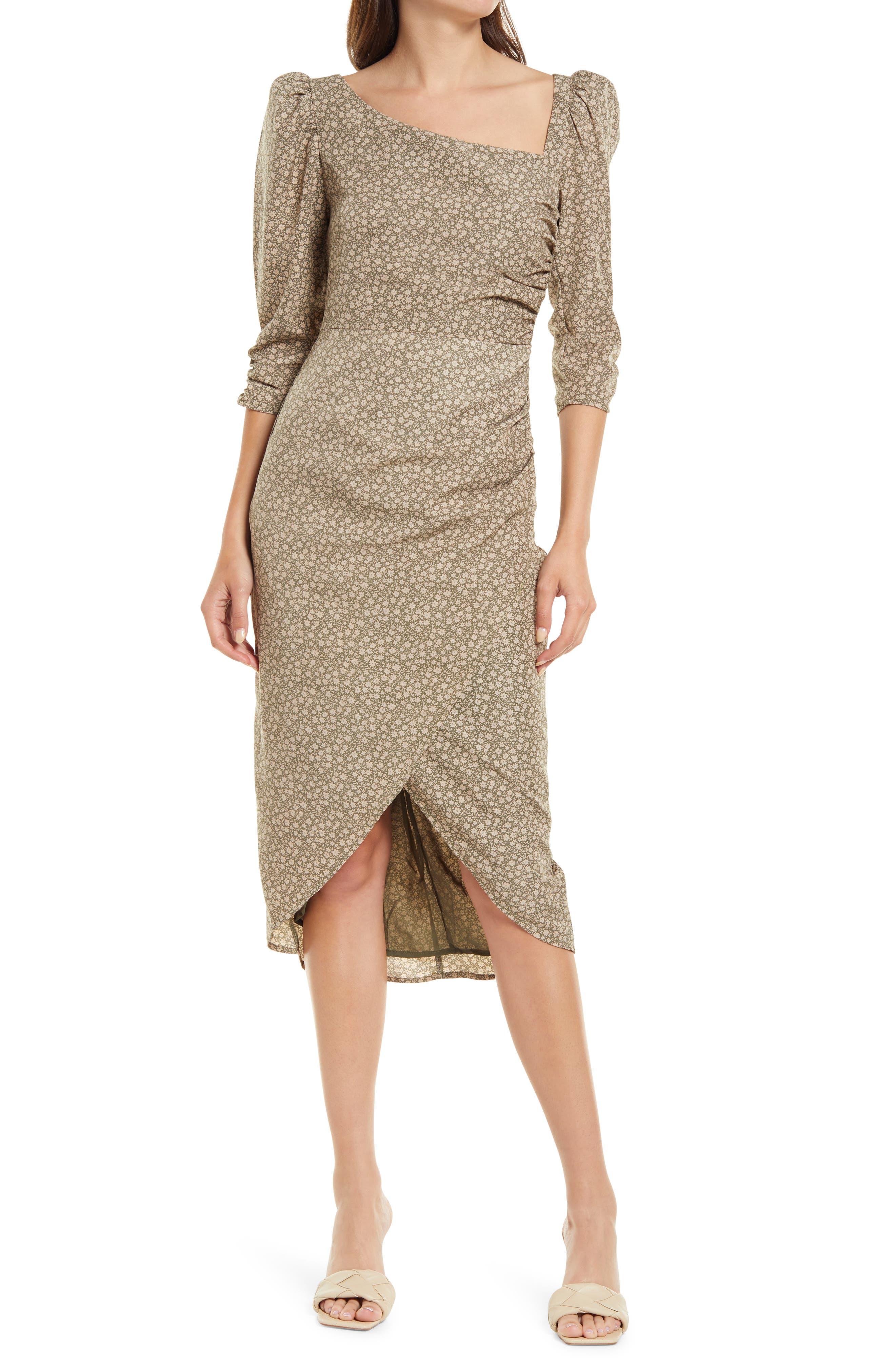 Asymmetric Neck Puff Shoulder Dress