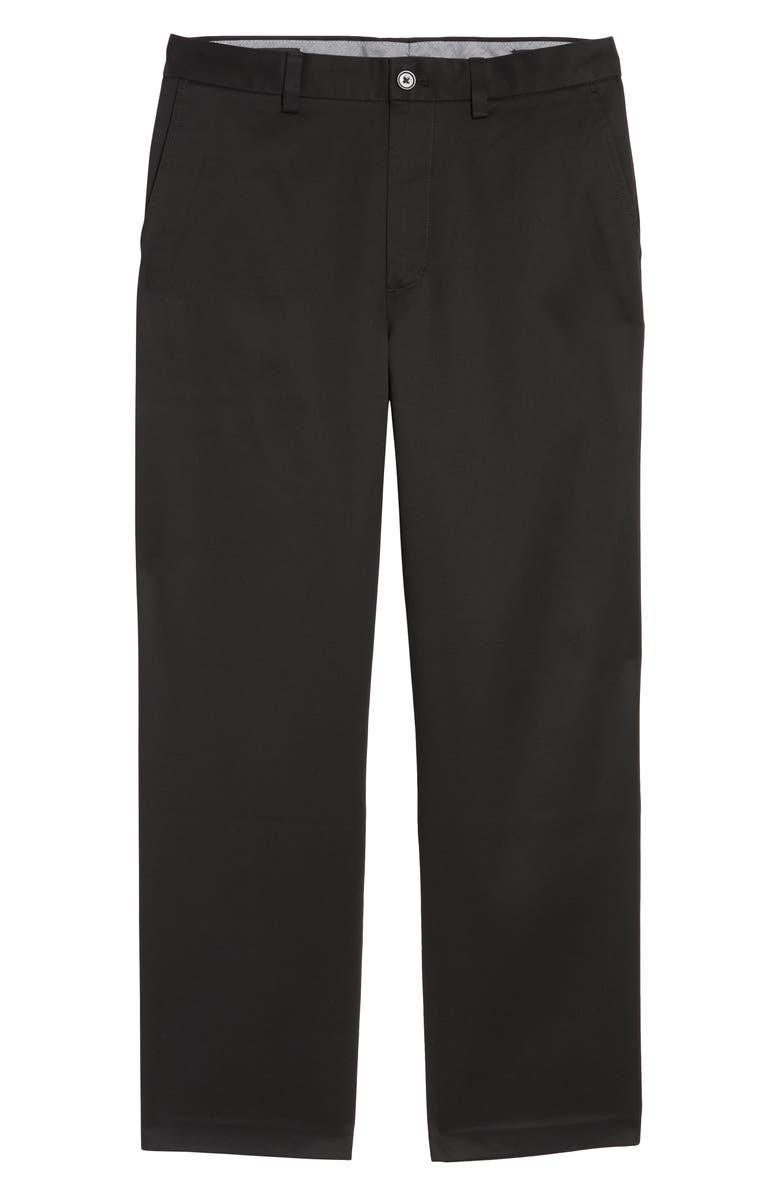 NORDSTROM MEN'S SHOP Classic Smartcare<sup>™</sup> Relaxed Fit Flat Front Cotton Pants, Main, color, BLACK