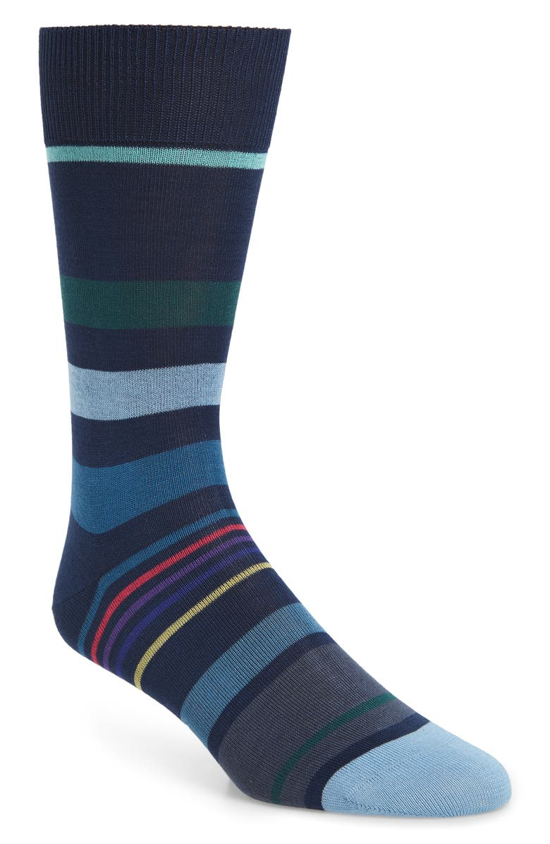 PAUL SMITH Stripe Socks, Main, color, BLACK/ BLUE MULTI