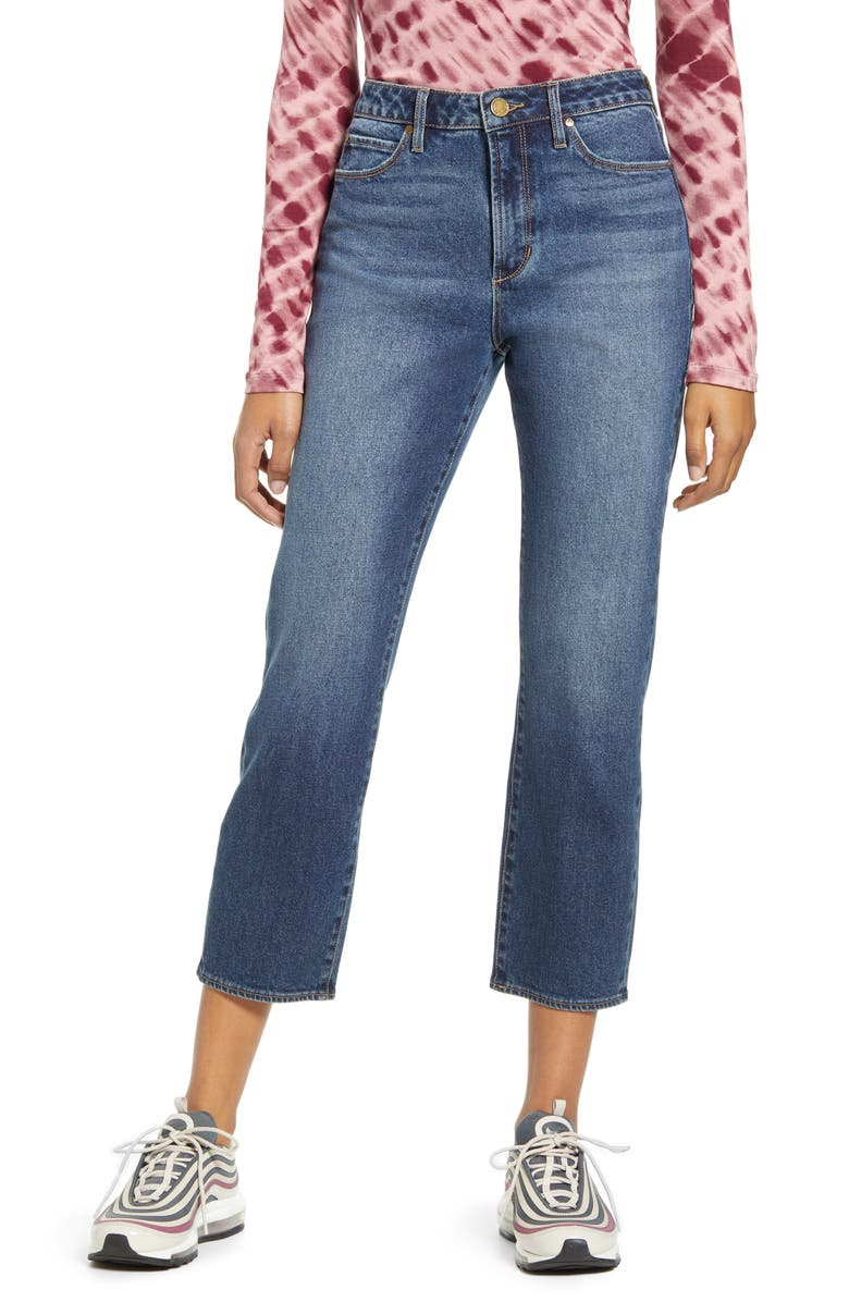 ARTICLES OF SOCIETY Kate High Waist Crop Straight Leg Jeans, Main, color, ELWOOD