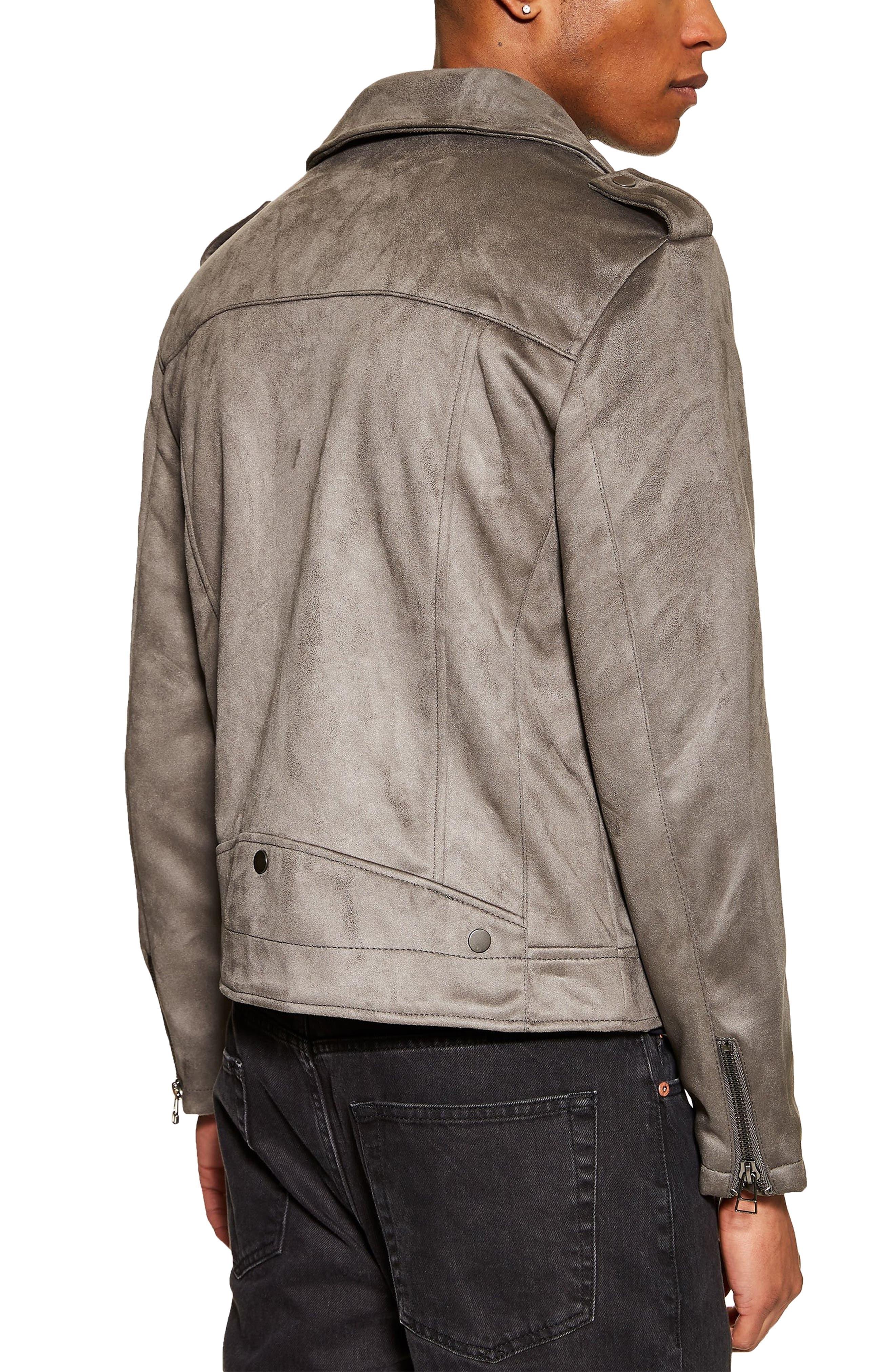 ,                             Faux Suede Biker Jacket,                             Alternate thumbnail 2, color,                             GREY