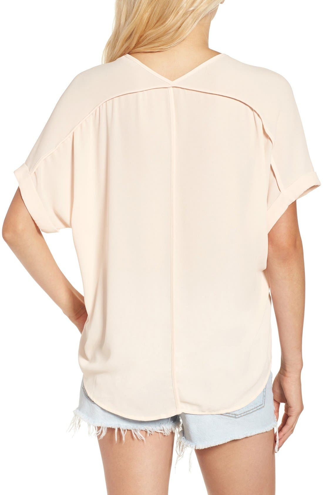 ,                             Lush Cuff Sleeve Woven Tee,                             Alternate thumbnail 183, color,                             901