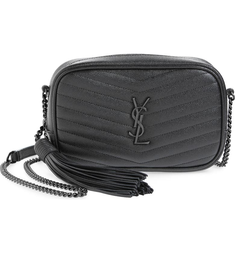 SAINT LAURENT Mini Lou Quilted Leather Crossbody Bag, Main, color, NOIR/NOIR