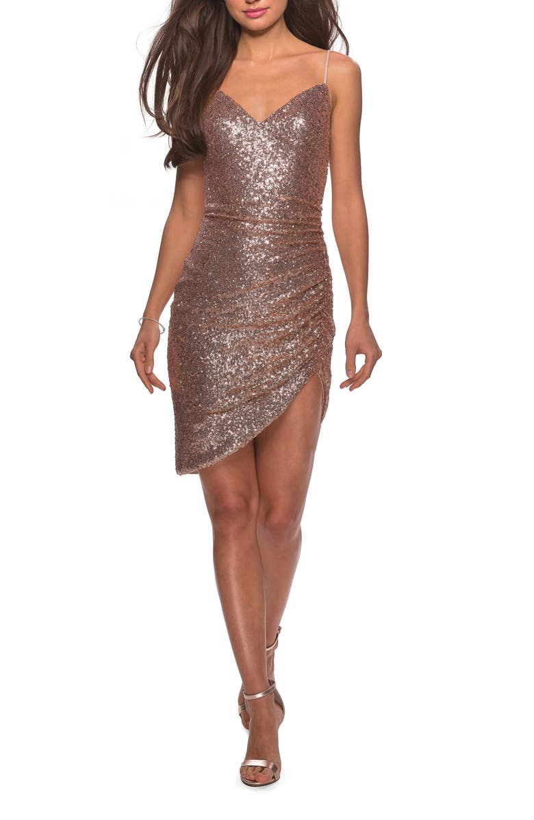 LA FEMME Sequin Side Rucked Party Sheath, Main, color, ROSE GOLD