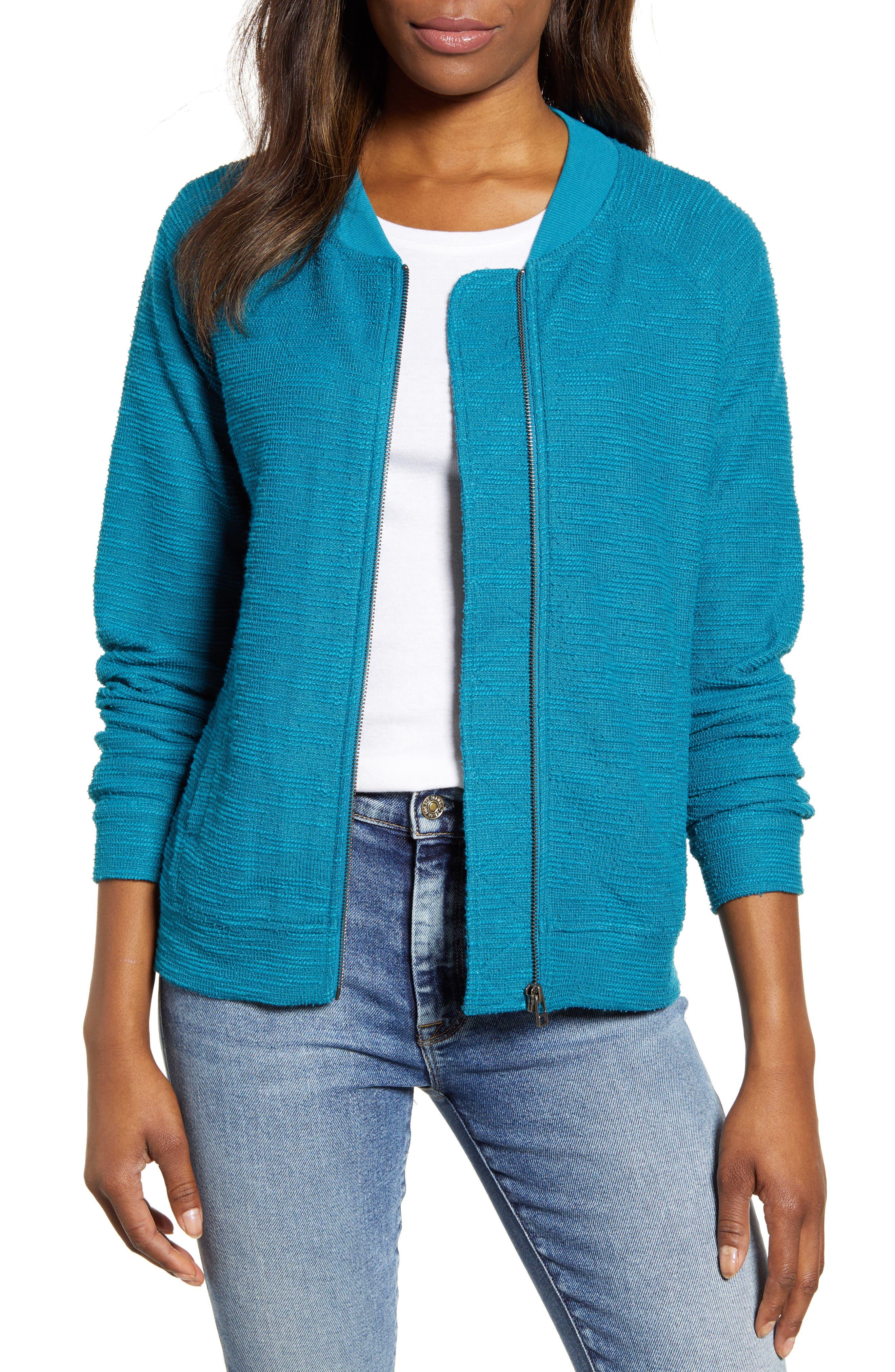Caslon® Knit Bomber Jacket (Regular & Petite)