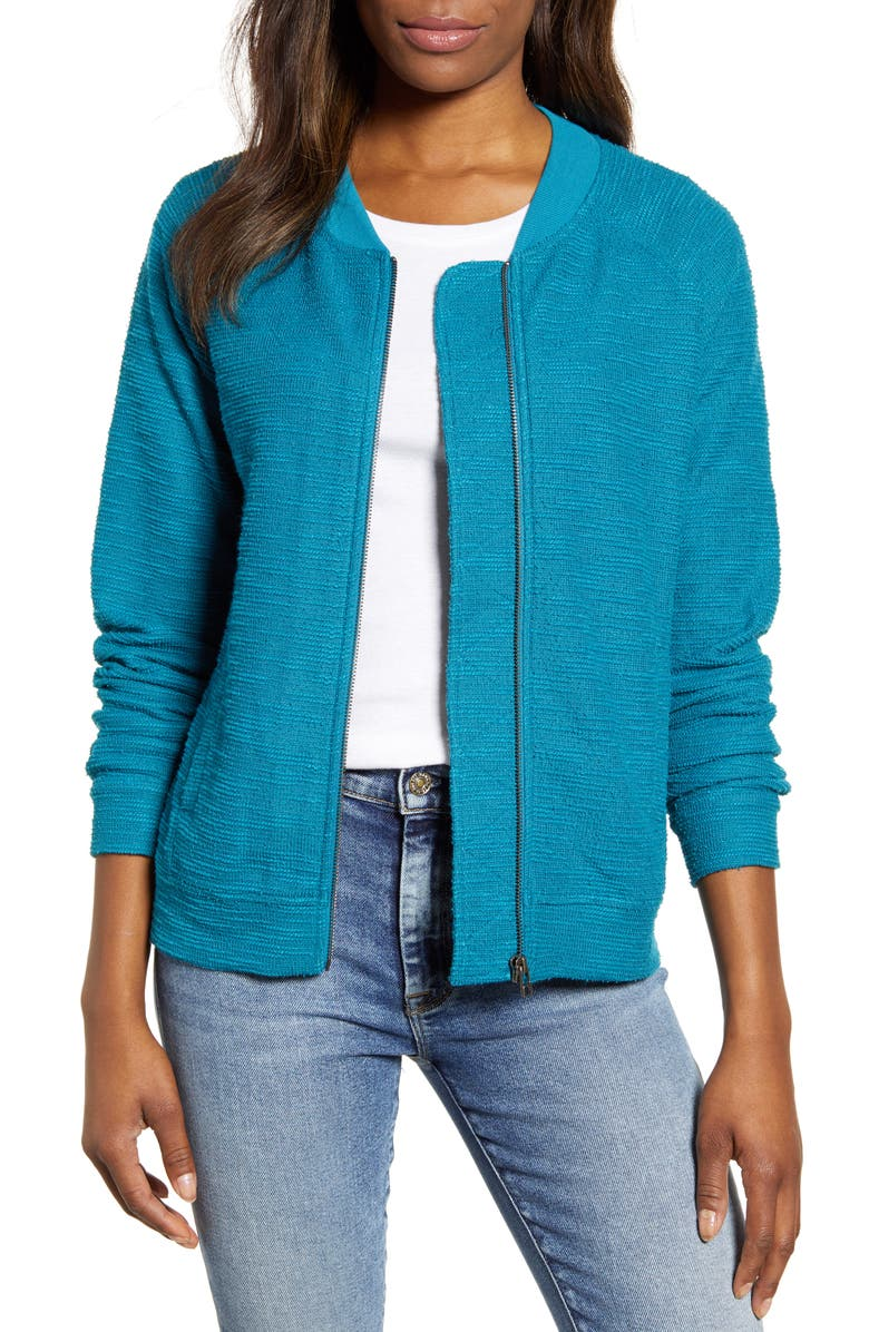 CASLON<SUP>®</SUP> Knit Bomber Jacket, Main, color, TEAL CRYSTAL