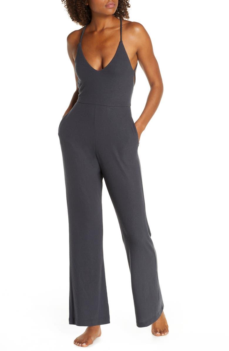 SPIRITUAL GANGSTER Sun Child Jumpsuit, Main, color, VINTAGE BLACK