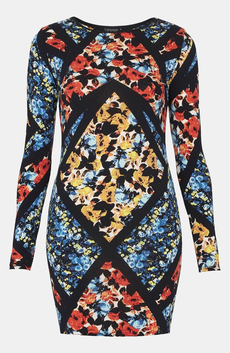 TOPSHOP Floral Print Body-Con Dress, Main, color, 600