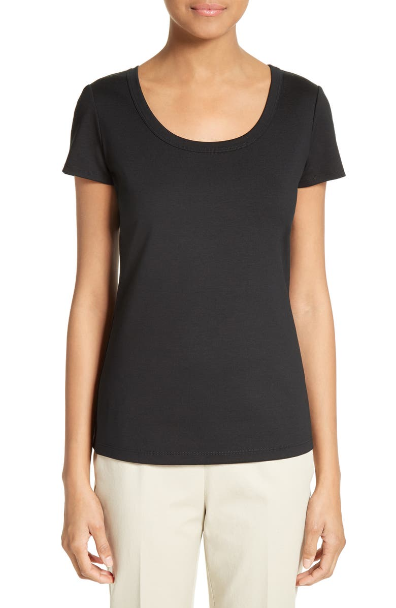 LAFAYETTE 148 NEW YORK Scoop Neck Cotton Tee, Main, color, BLACK