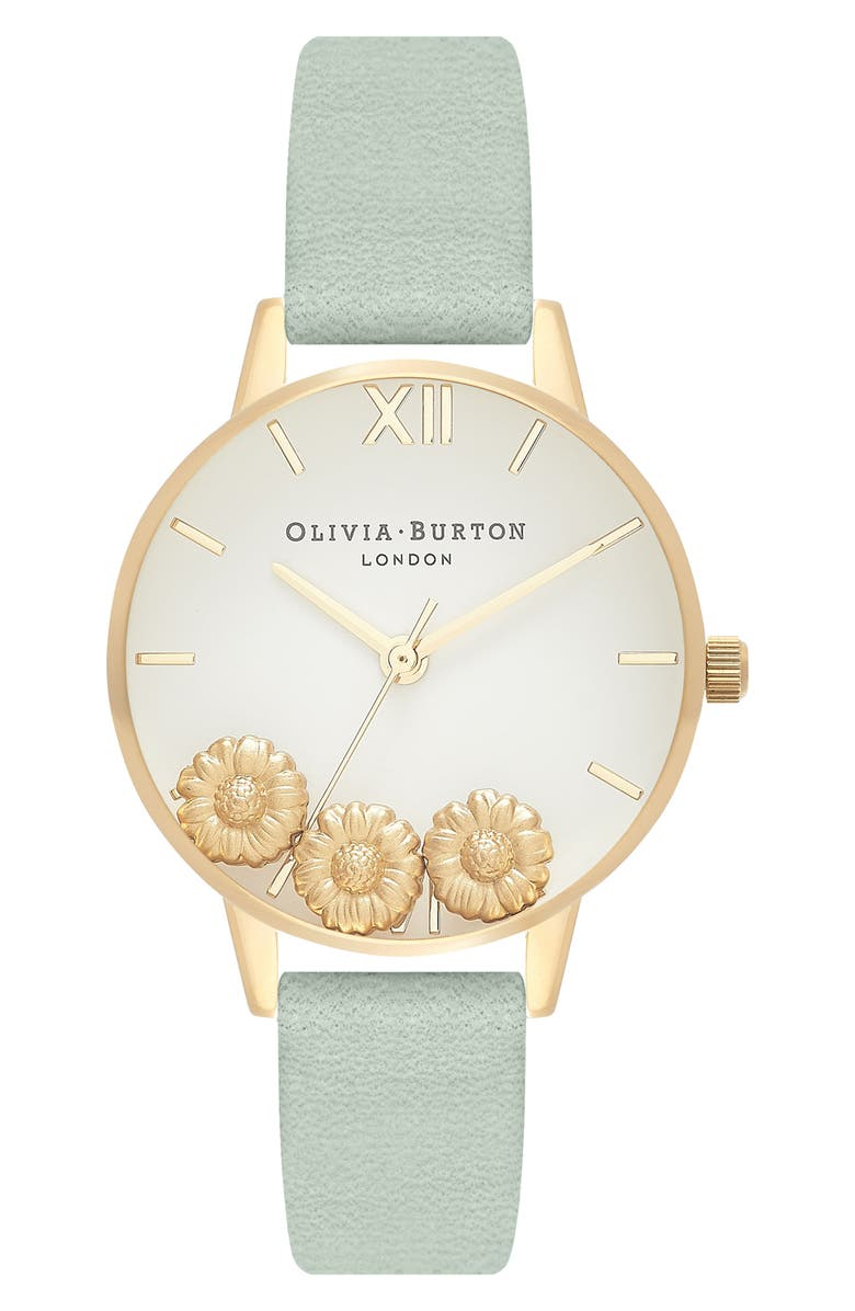 OLIVIA BURTON Dancing Daisy Leather Strap Watch, 30mm, Main, color, SAGE/ WHITE/ GOLD