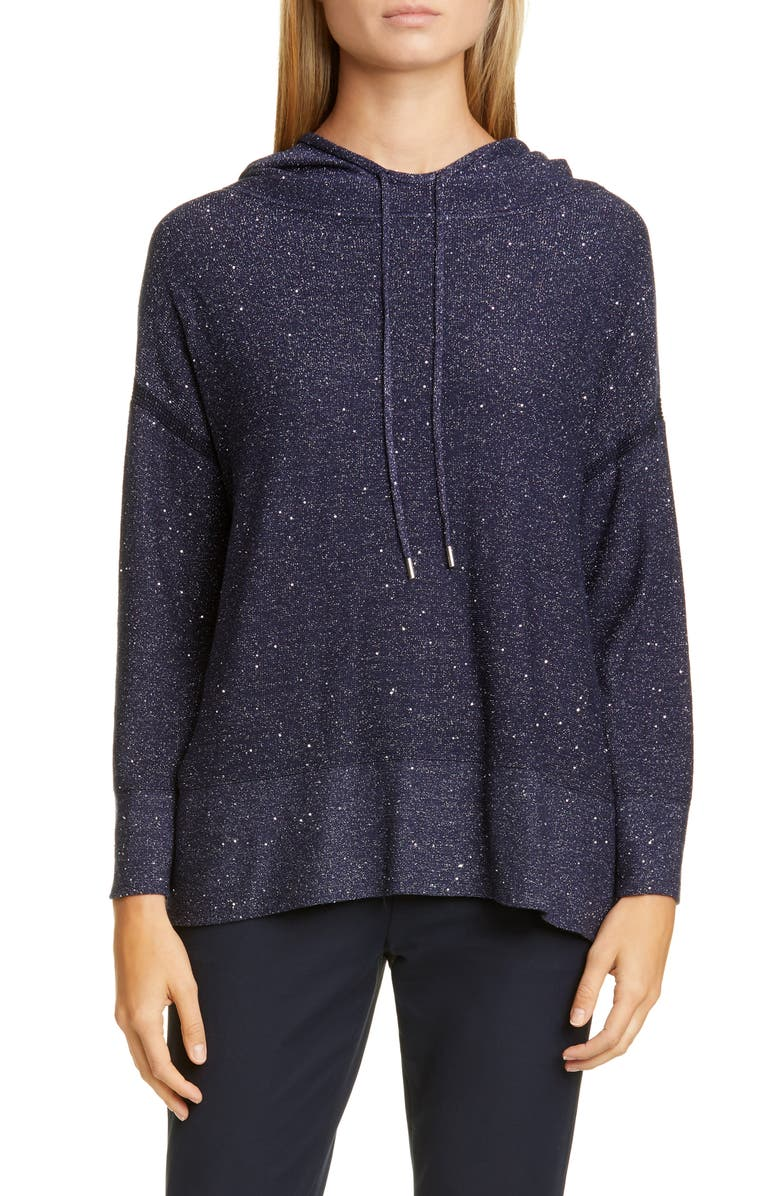 LAFAYETTE 148 NEW YORK Sequin Metallic Silk & Wool Blend Hoodie, Main, color, MARINE BLUE METALLIC