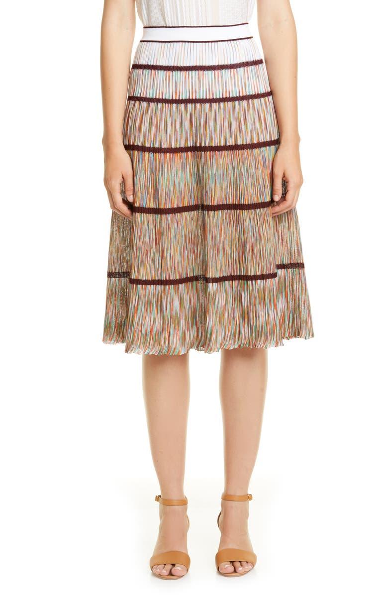 MISSONI Tier Knit Cotton Skirt, Main, color, MULTI