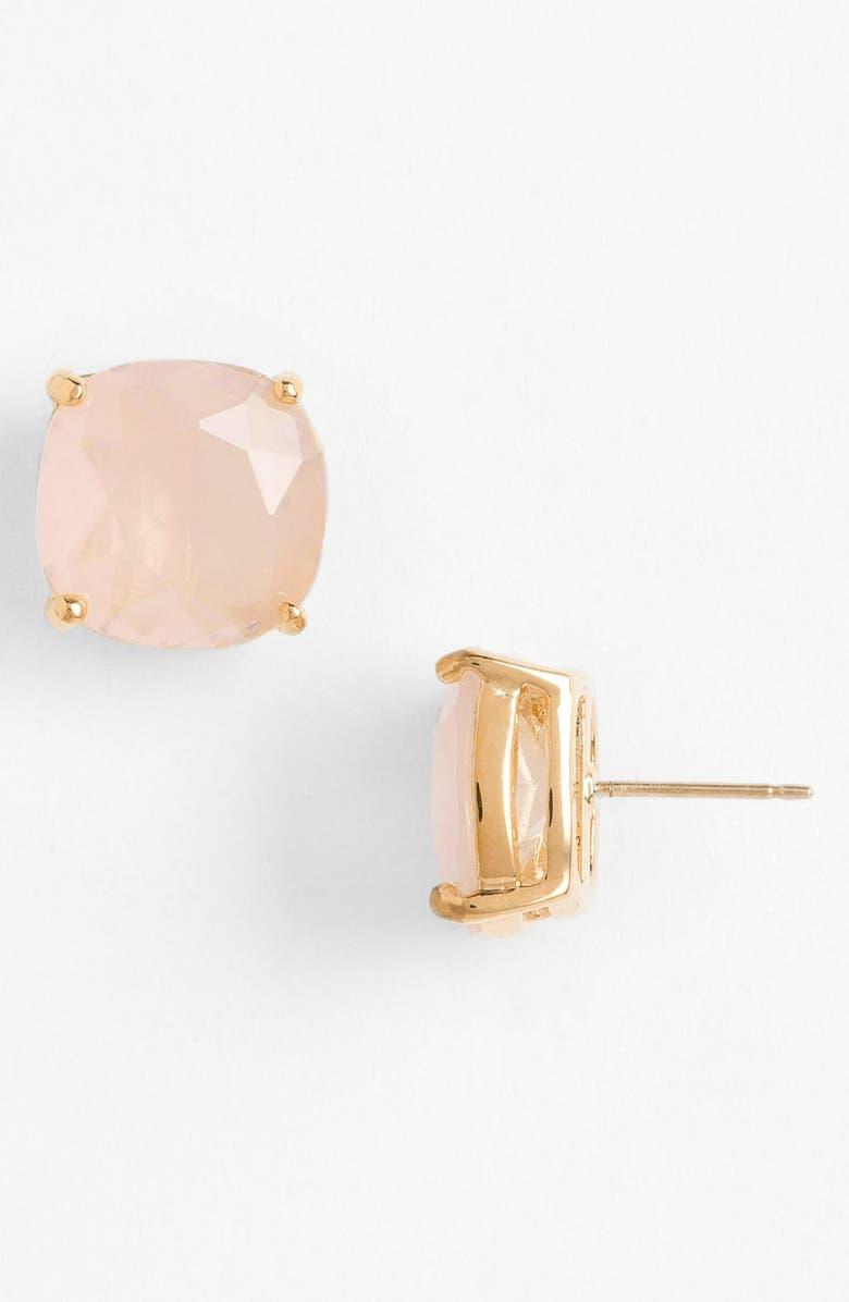 KATE SPADE NEW YORK mini small square semiprecious stone stud earrings, Main, color, LIGHT PINK/ GOLD
