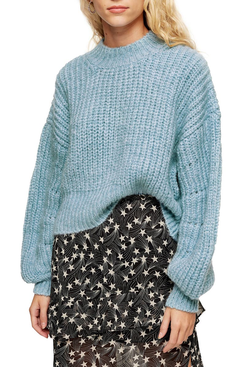 TOPSHOP Balloon Sleeve Mock Neck Sweater, Main, color, LIGHT BLUE