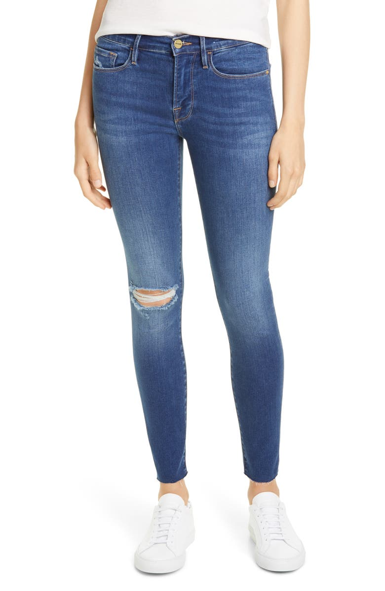 FRAME Le Raw Edge Ripped Crop Skinny Jeans, Main, color, WASHINGTON SQUARE