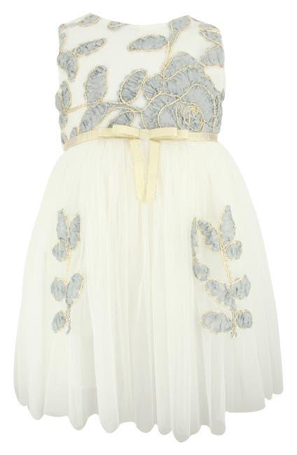 Image of Popatu Gold Trim Flower Tulle Dress