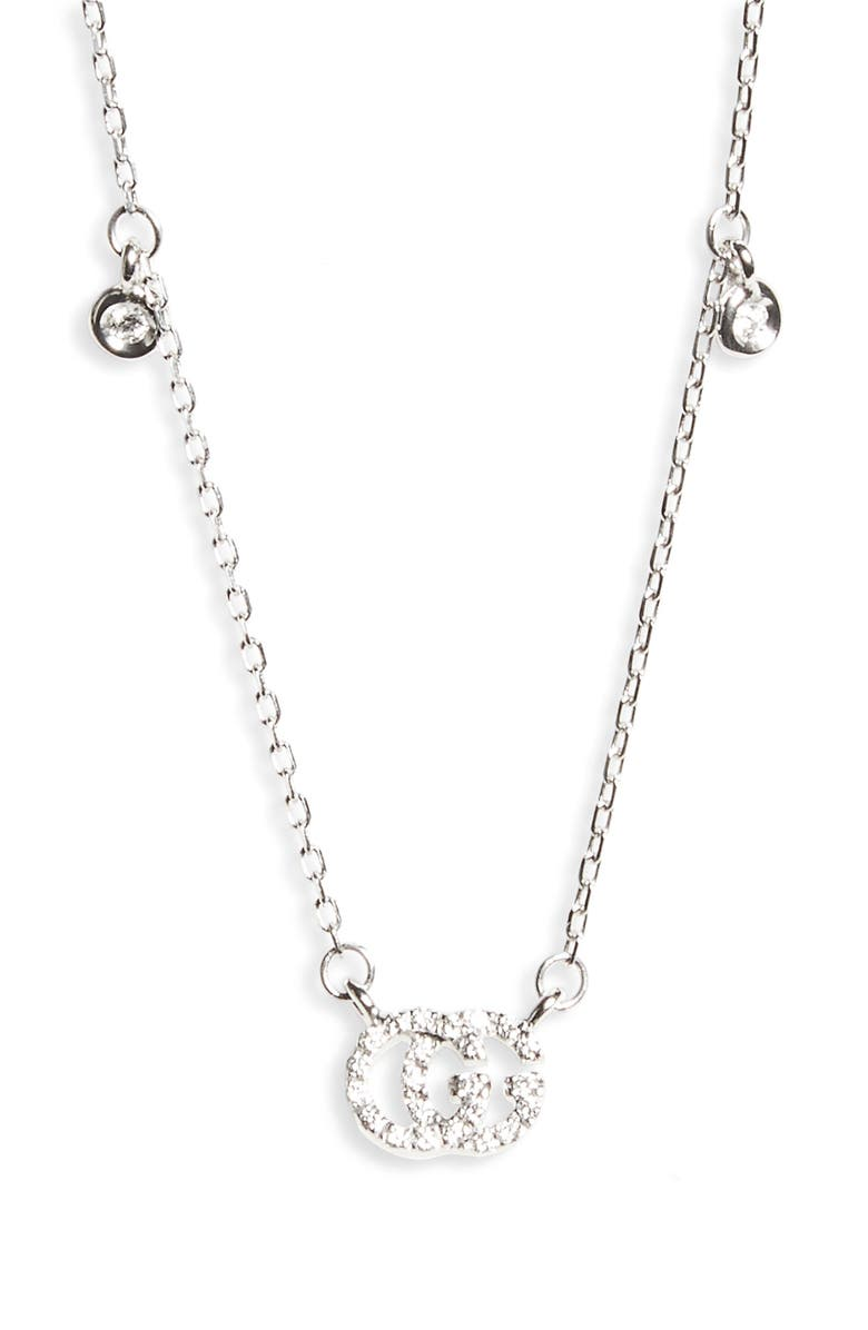 GUCCI Double-G Diamond Pendant Necklace, Main, color, WHITE GOLD