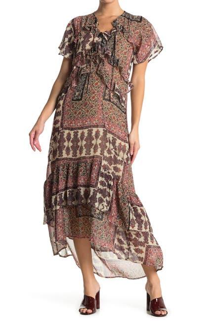 Image of Love Stitch Mixed Print High/Low Hem Dress