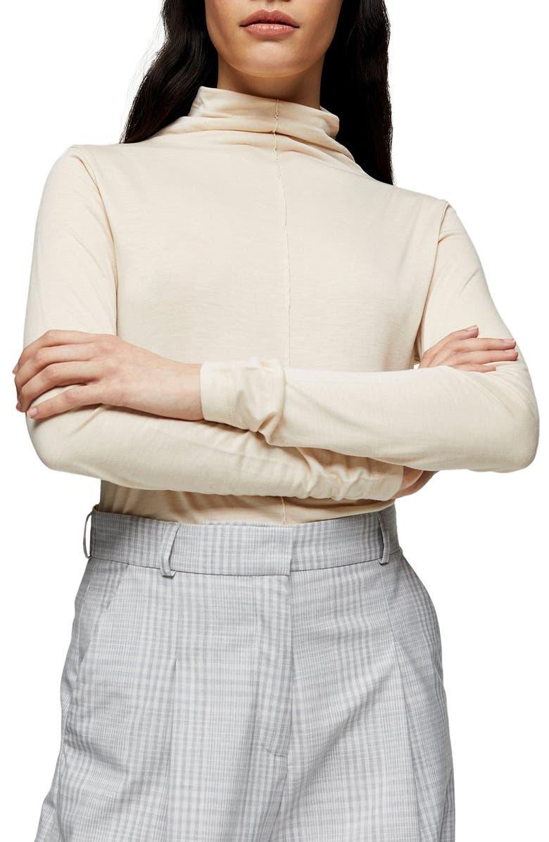 TOPSHOP BOUTIQUE Mock Neck Long Sleeve T-Shirt, Main, color, 900