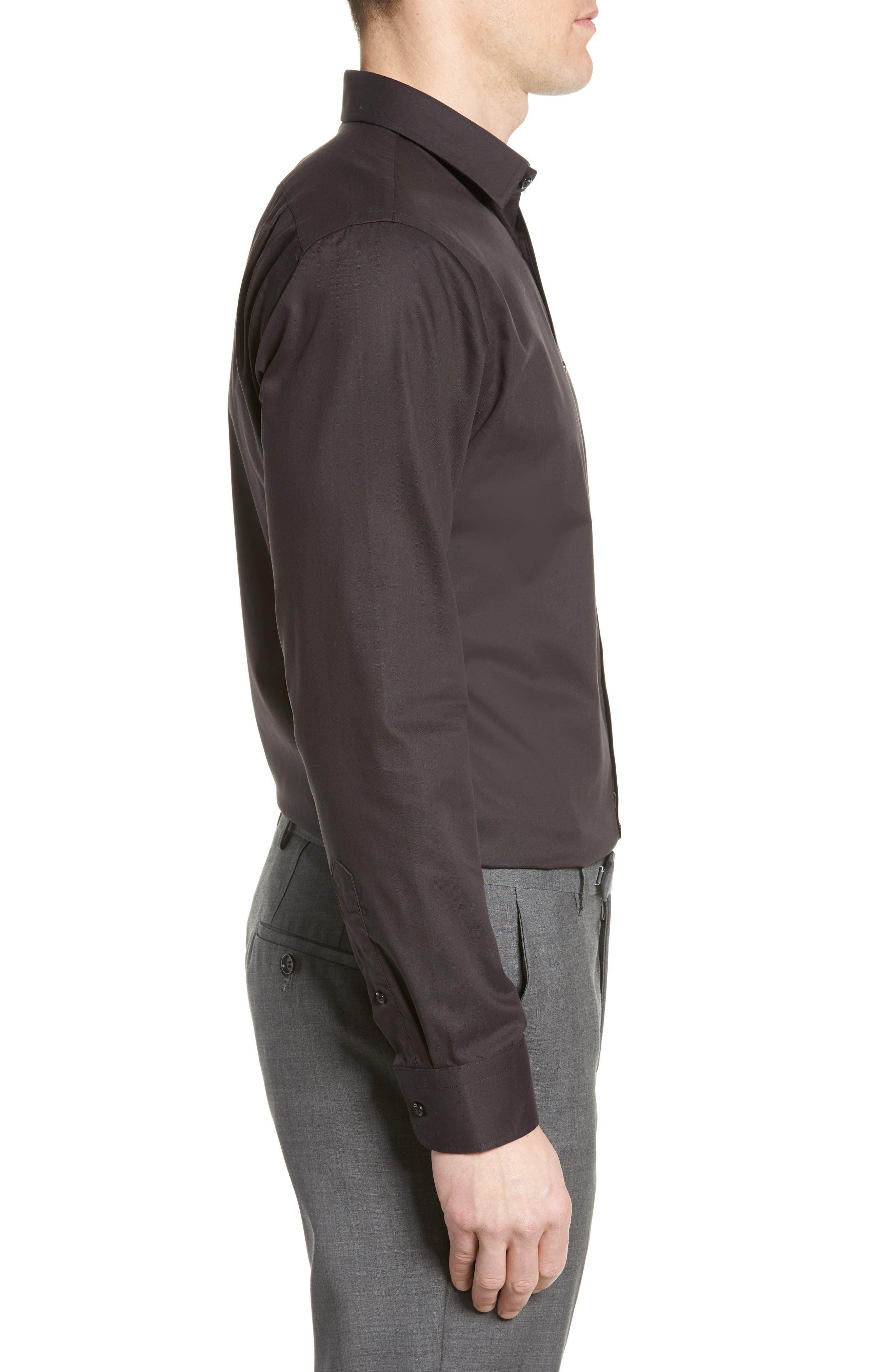,                             Trim Fit Non-Iron Dress Shirt,                             Alternate thumbnail 4, color,                             BLACK