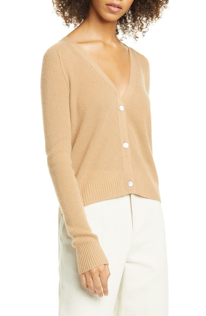 VINCE Ribbed Cashmere Cardigan Sweater, Main, color, 240