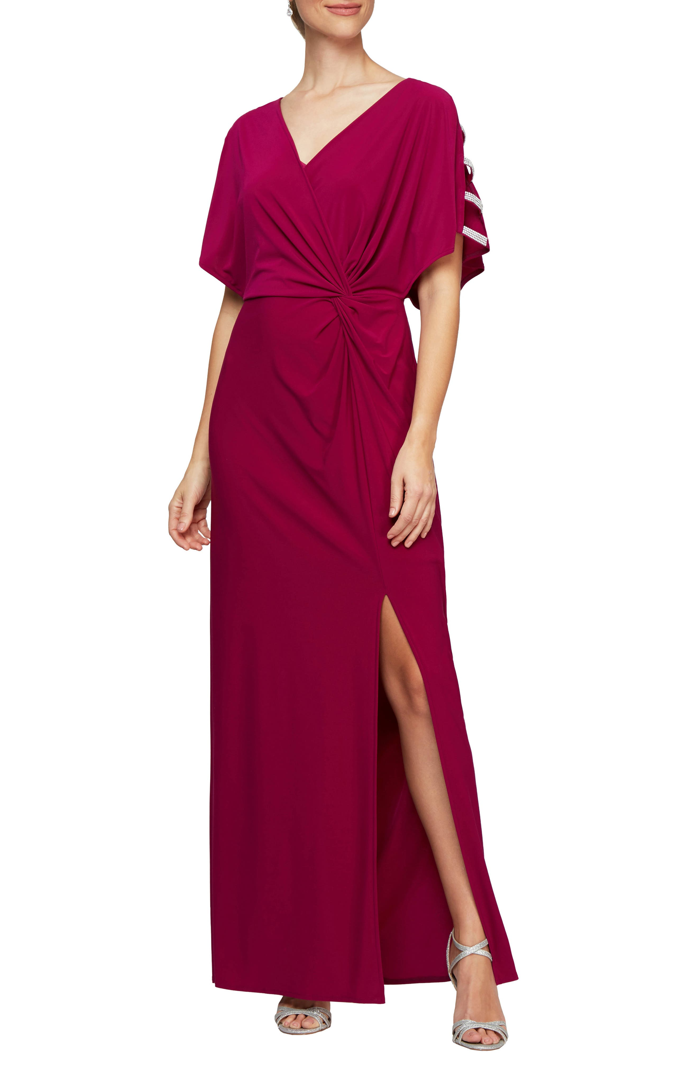 Embellished Sleeve Knot Front Gown