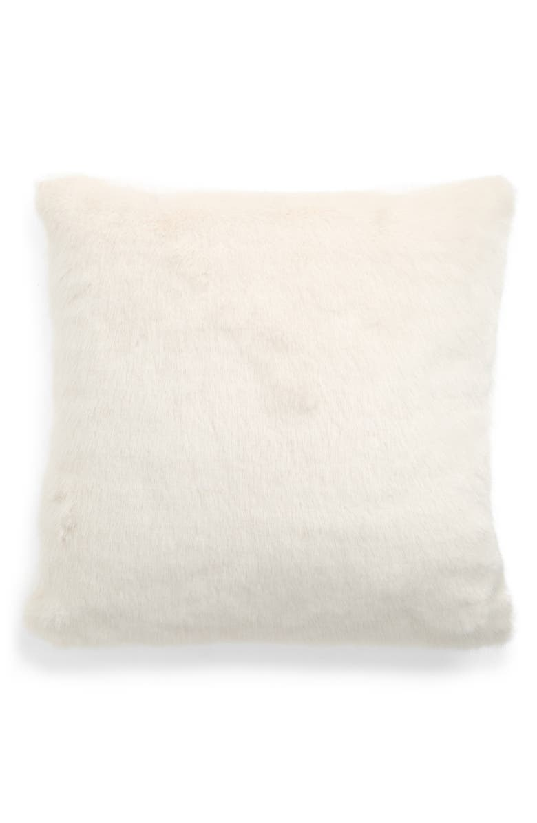 TREASURE & BOND Whisp Faux Fur Pillow, Main, color, IVORY