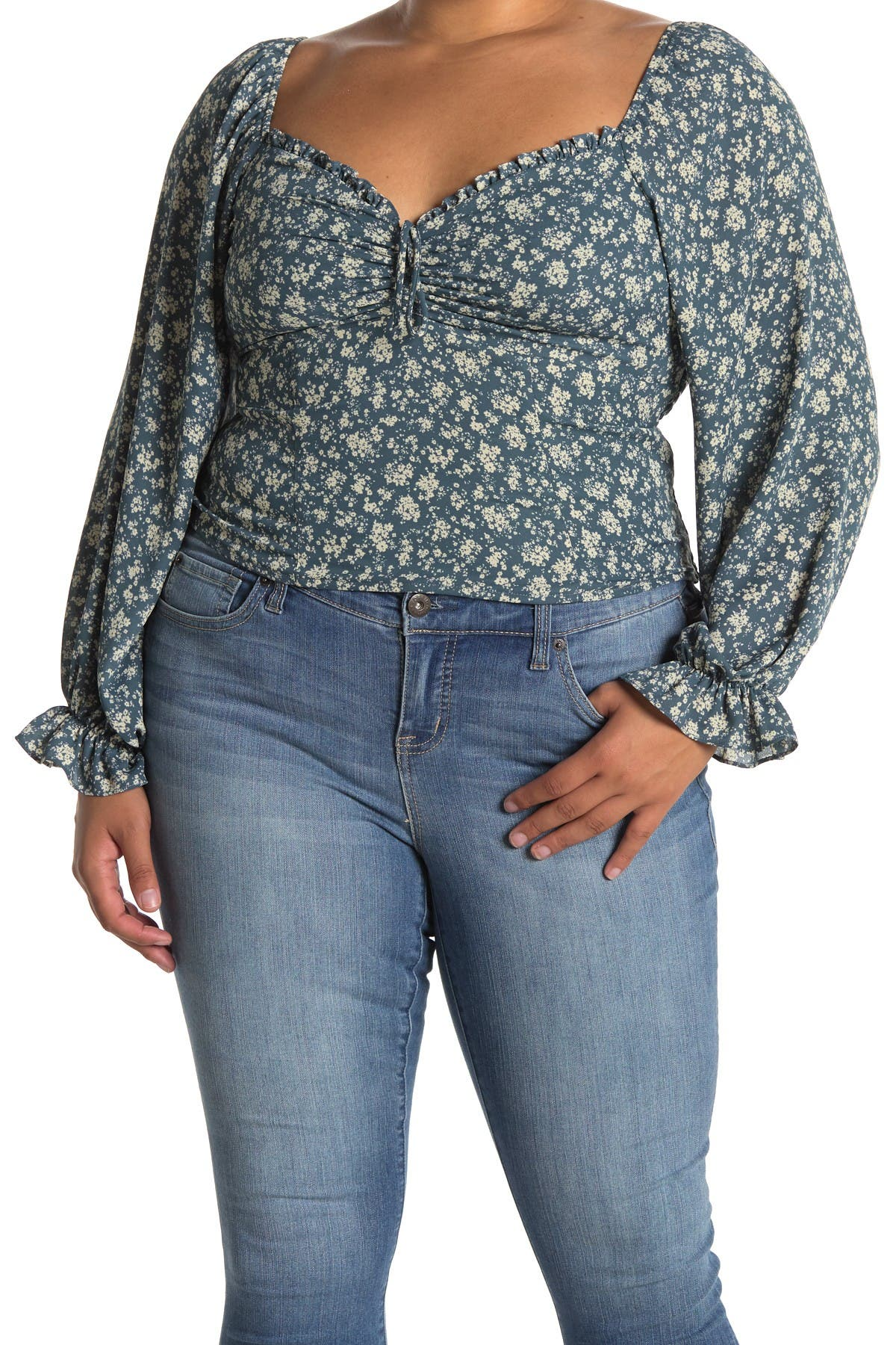 Image of ASTR the Label Sweetheart Neck Ruffle Cuff Floral Print Top