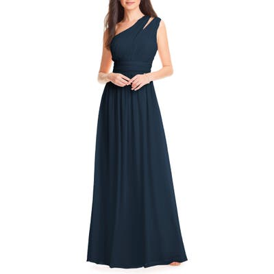 #levkoff Chiffon One-Shoulder Gown, Blue