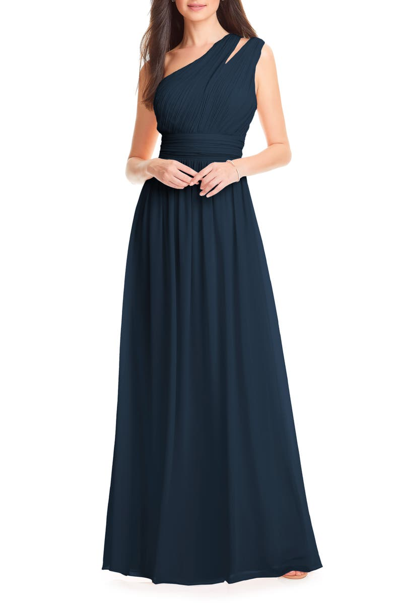 #LEVKOFF Chiffon One-Shoulder Gown, Main, color, NAVY