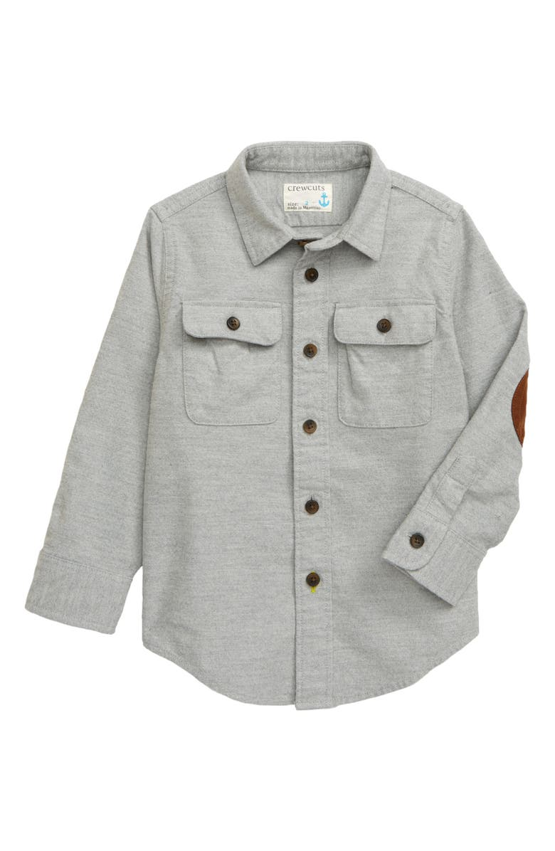 CREWCUTS BY J.CREW Button-Up Chamois Shirt, Main, color, HEATHER GREY