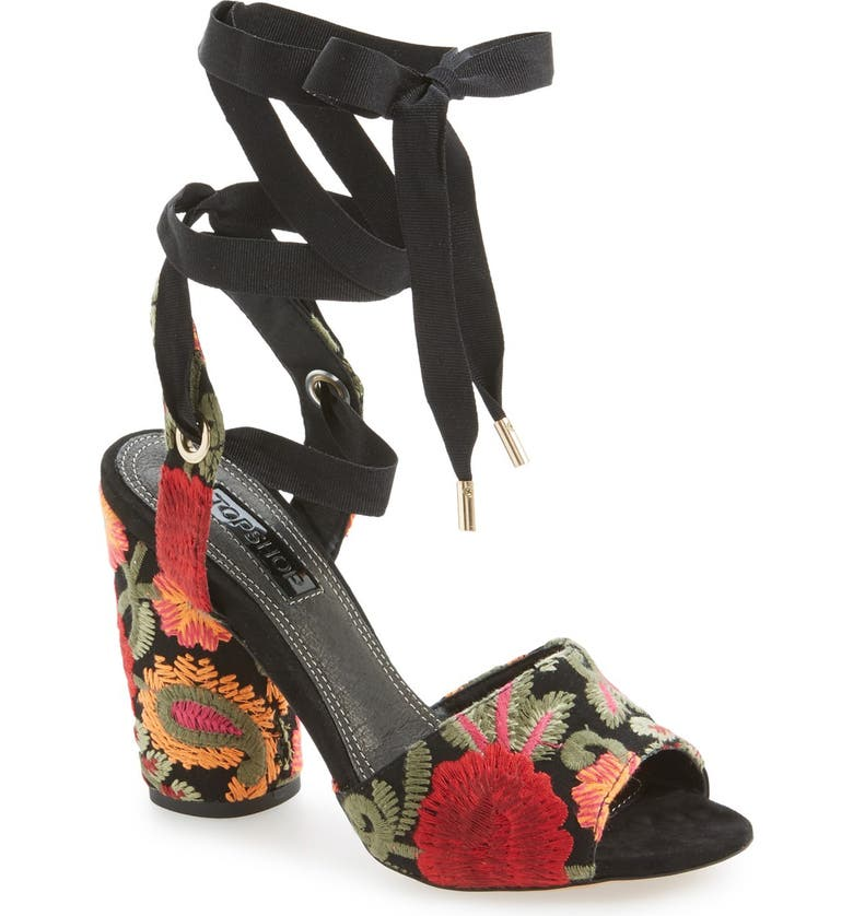 TOPSHOP 'Royal' Embroidered Lace-Up Sandal, Main, color, 001