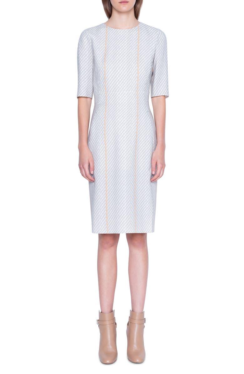 AKRIS Tweed Print Wool Blend Sheath Dress, Main, color, MULTICOLOR