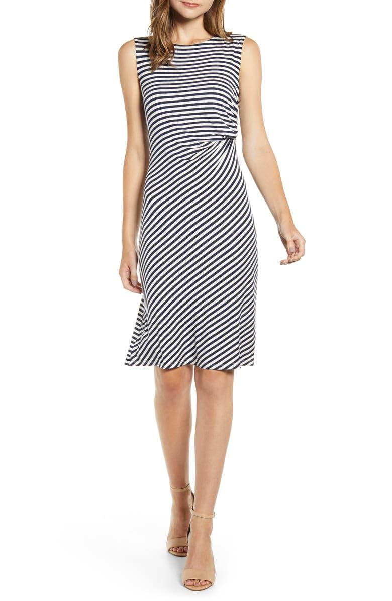 BOBEAU Side Drape Knit Dress, Main, color, PARISIAN NIGHT/ WHITE STRIPE