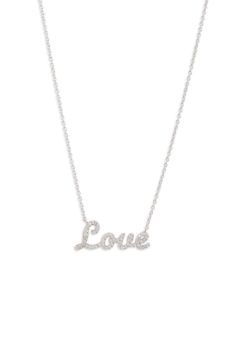 ARGENTO VIVO Love Pavé Pendant Necklace, Main, color, 040