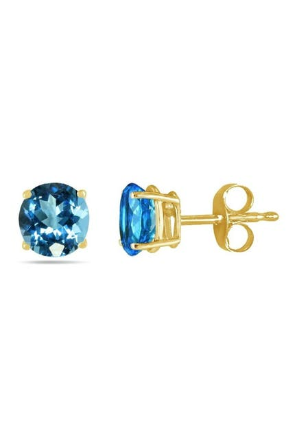 Image of Best Silver Inc. 14K Yellow Gold Round-Cut Blue Topaz Stud Earrings