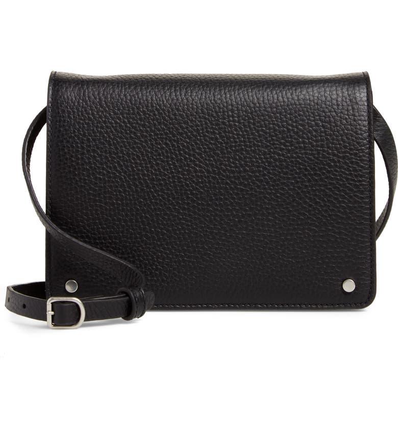 TREASURE & BOND Lex Pebbled Leather Crossbody Bag, Main, color, BLACK