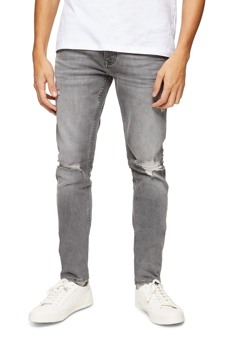 TOPMAN Ripped Skinny Fit Jeans, Main, color, 020