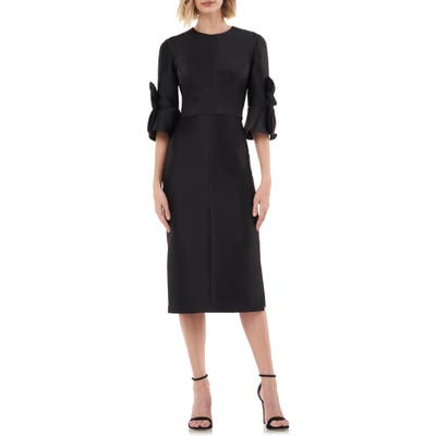 Kay Unger Bow Sleeve Stretch Mikado Dress
