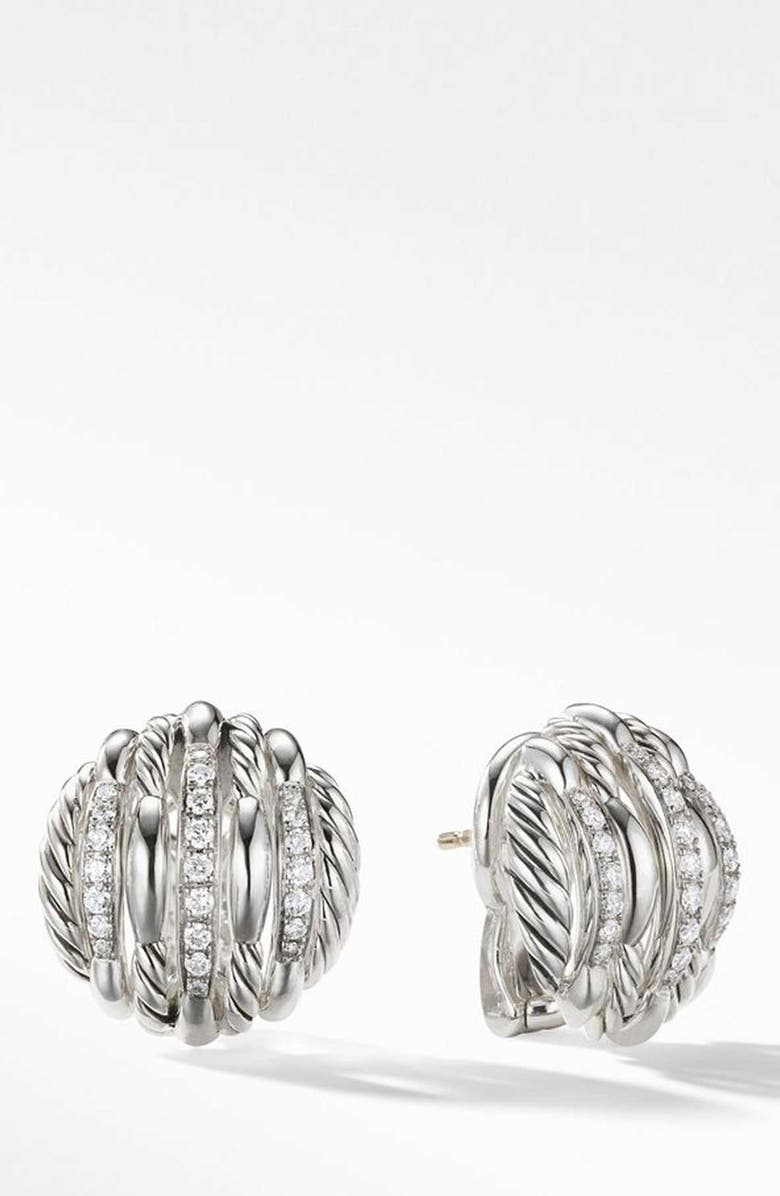 DAVID YURMAN Tides Stud Earrings with Diamonds, Main, color, STERLING SILVER/ DIAMOND