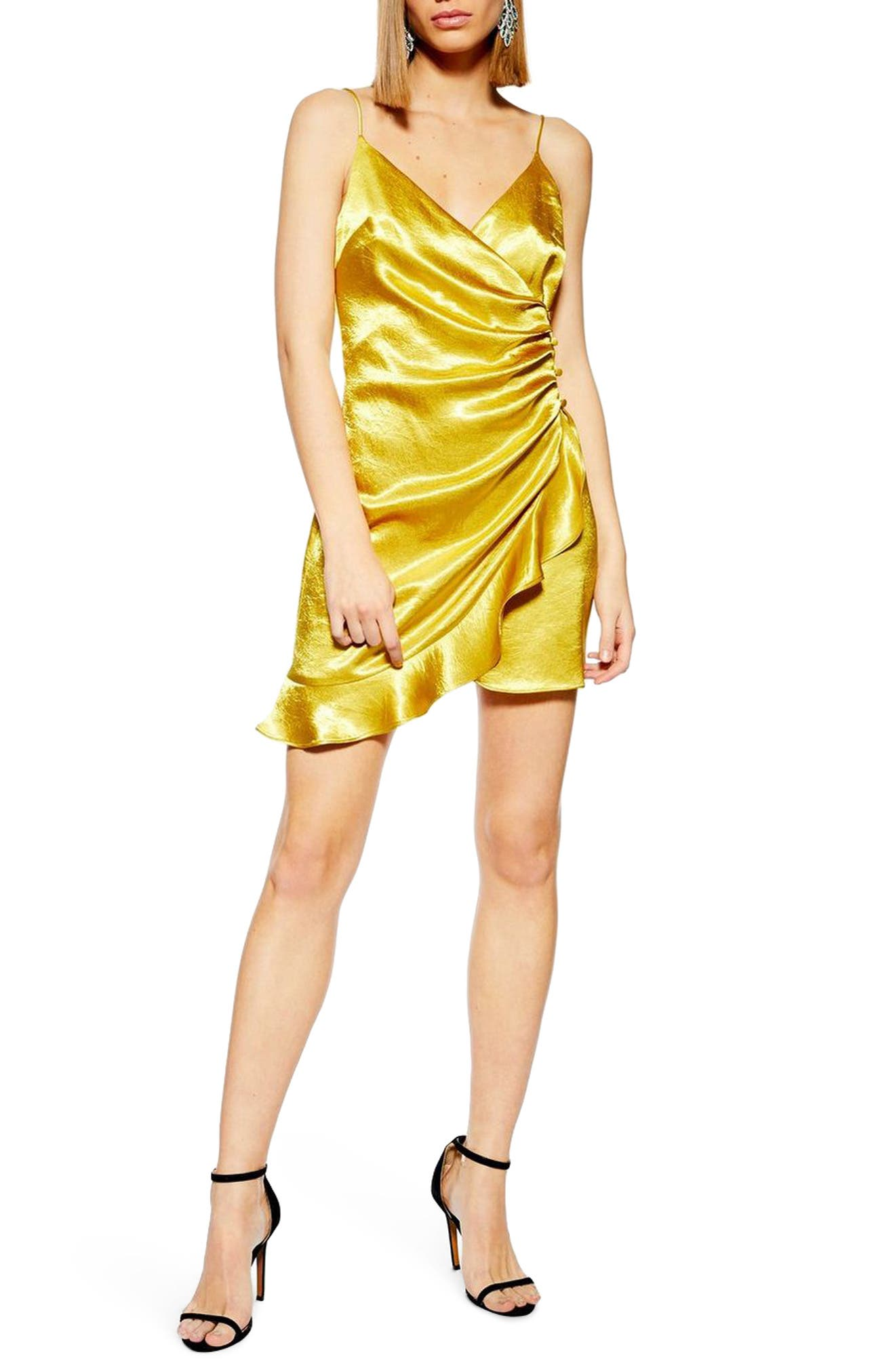 Topshop Ruched Satin Minidress, US (fits like 0-2) - Yellow
