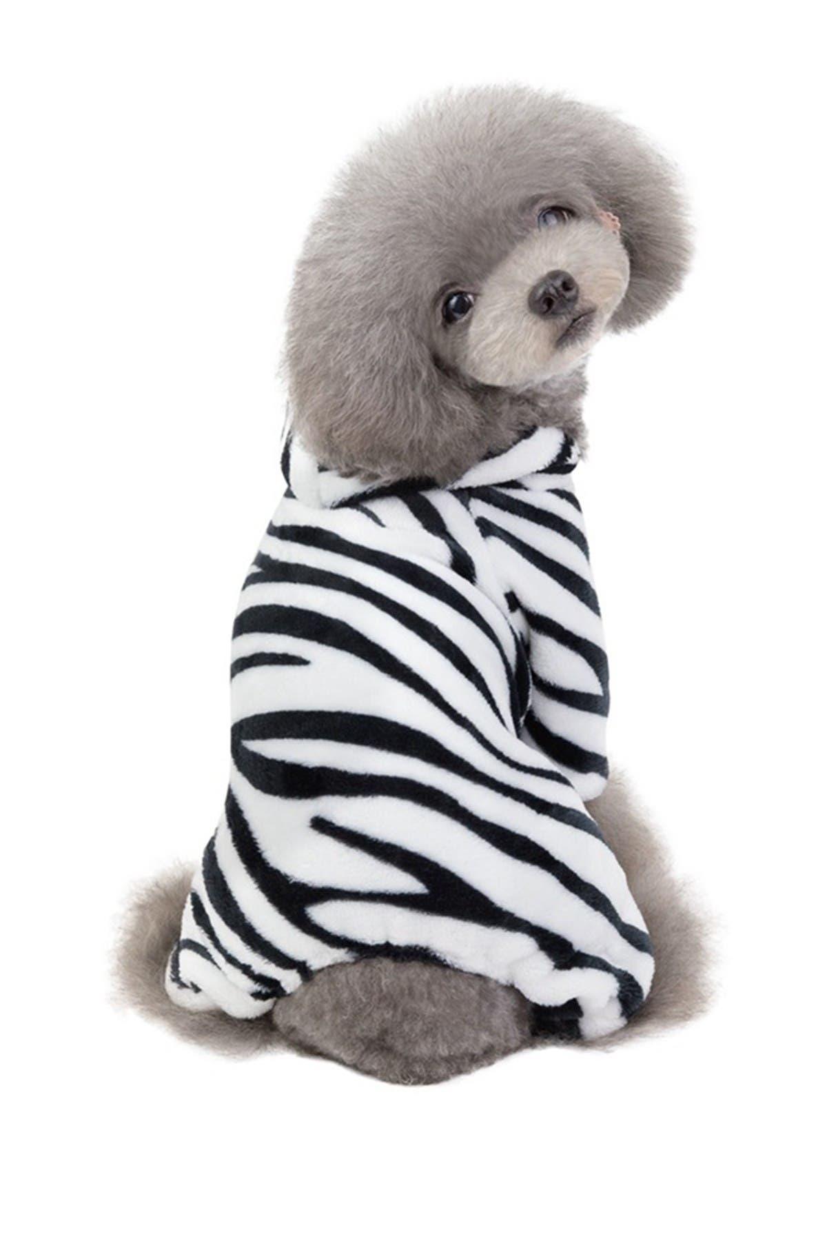 Image of Dogs of Glamour Zebra Pajama - Large - Black/White