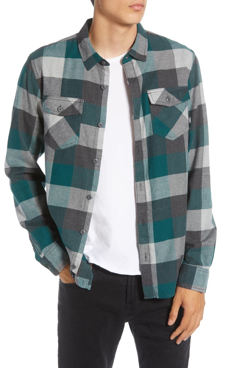 VANS Box Tailored Fit Buffalo Check Button-Up Flannel Shirt, Main, color, TREKKING GREEN/ GREY