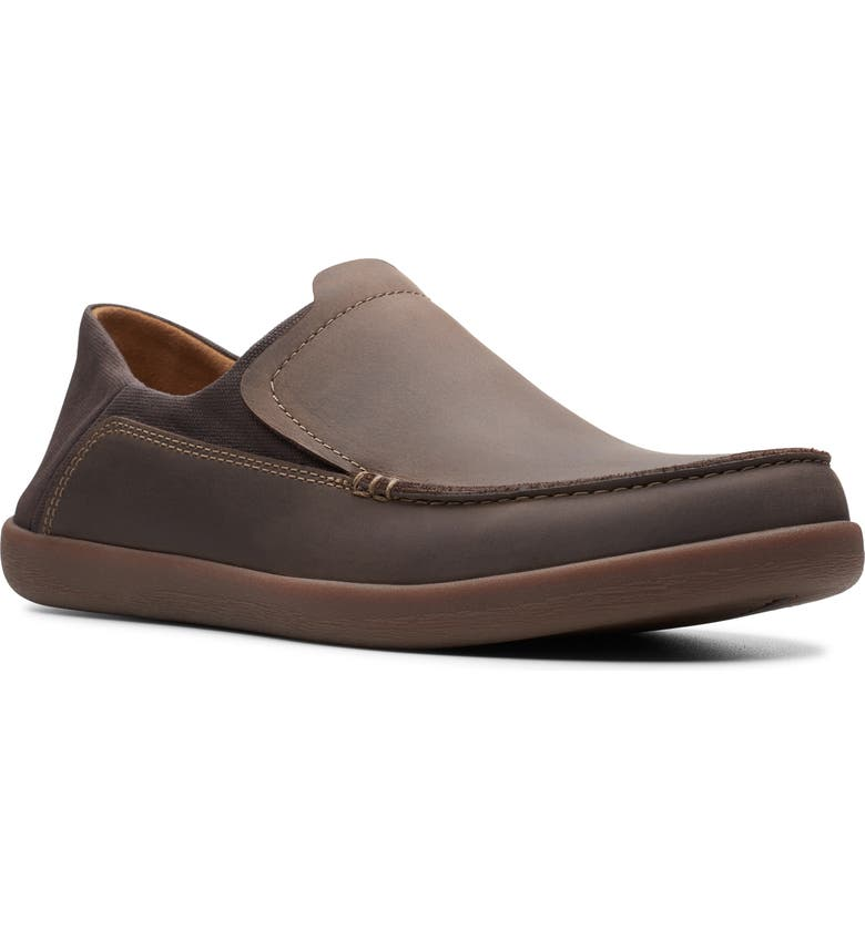 CLARKS<SUP>®</SUP> Un Lisbon Lane Slip-On, Main, color, BROWN OILY LEATHER/ TEXTILE