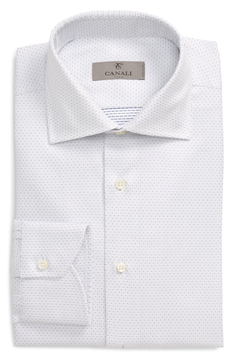 CANALI Regular Fit Dot Jacquard Dress Shirt, Main, color, WHITE
